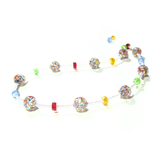 Murano Glass Colorful Ball Long Silver Necklace - JKC Murano