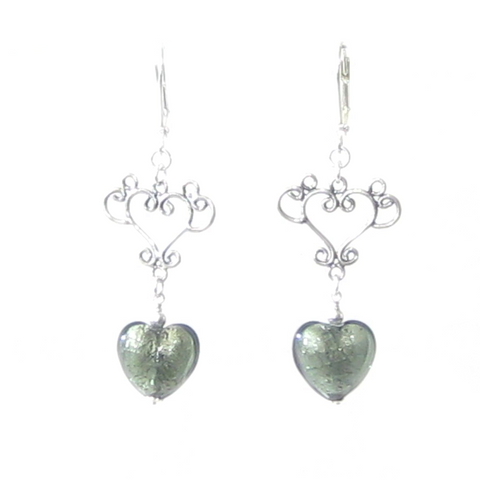Murano Glass Gray Heart Long Dangle Silver Earrings - JKC Murano