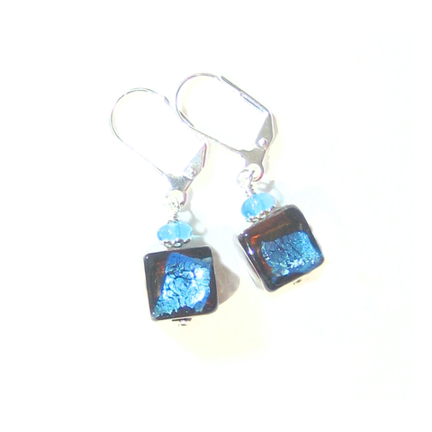 Murano Glass Aqua Dark Topaz Cube Sterling Silver Earrings