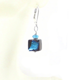 Murano Glass Aqua Dark Topaz Cube Sterling Silver Earrings - JKC Murano