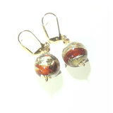 Murano Glass Red White Brown Gold Earrings - JKC Murano