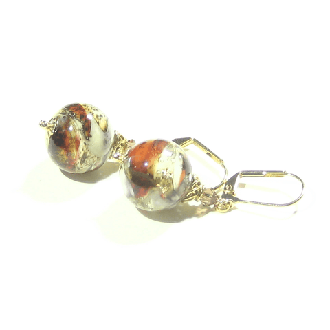 Murano Glass Red White Brown Gold Earrings