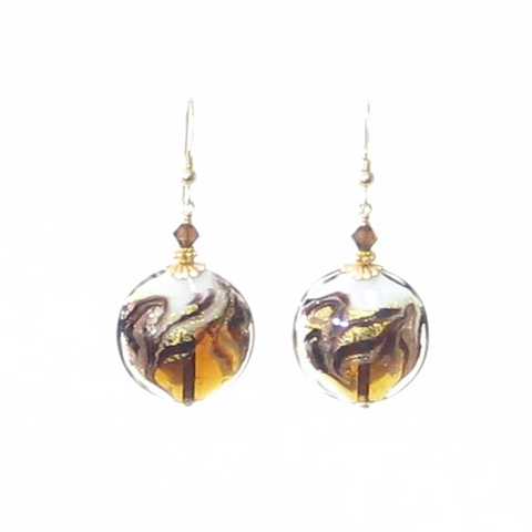Murano Glass Topaz White Swirl Disc Gold Earrings - JKC Murano