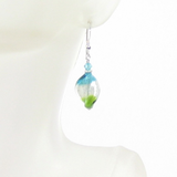 Murano Glass Colorful Aqua Green Twist Silver Earrings - JKC Murano