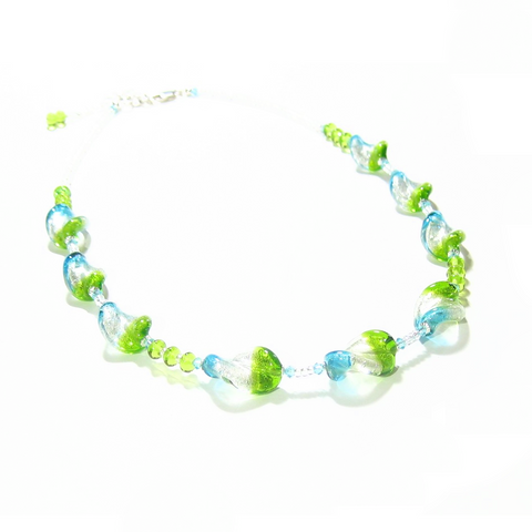 Murano Glass Aqua Green Tricolor Twist Silver Necklace - JKC Murano
