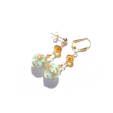 Murano Glass Turquoise Ball Gold Earrings, Venetian Jewelry - JKC Murano