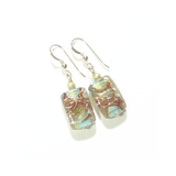 Murano Glass Turquoise Copper Rectangle Gold Earrings by JKC Murano - JKC Murano
