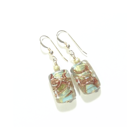 Murano Glass Turquoise Copper Rectangle Gold Earrings by JKC Murano