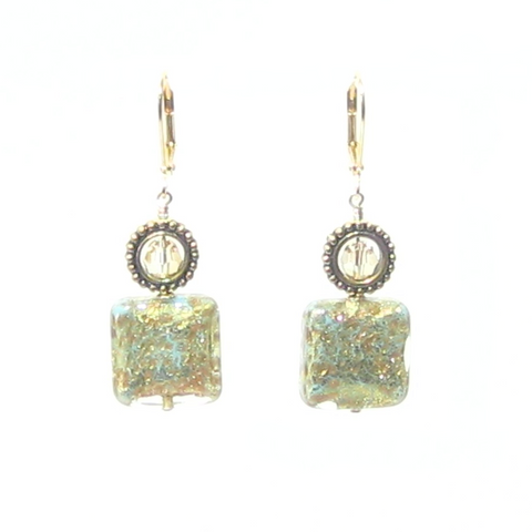 Murano Glass Turquoise Copper Square Gold Earrings by JKC Murano
