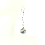 Murano Glass Turquoise Leopard Long Gold Earrings - JKC Murano