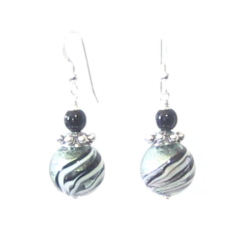 Murano Glass Black Steel Swirl Ball Silver Earrings, Italian Jewelry - JKC Murano