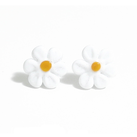 Murano White Daisy Flower Post Earrings, Studs