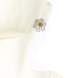 Murano White Daisy Flower Post Earrings, Studs - JKC Murano