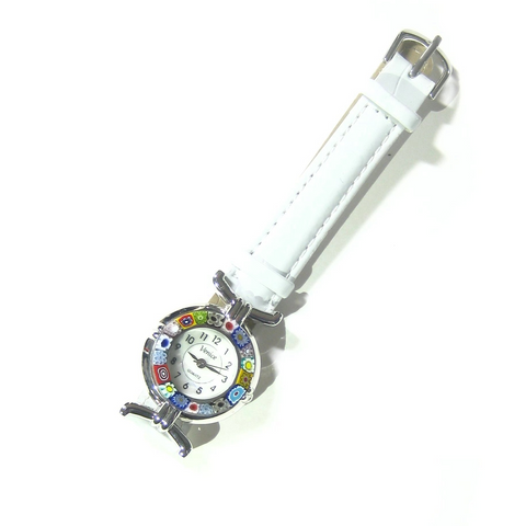 Italian Murano Glass Millefiori Chrome White Leather Band Watch - JKC Murano