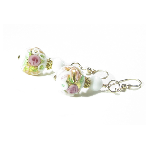 Murano Glass White Wedding Cake Rose Gold Earrings
