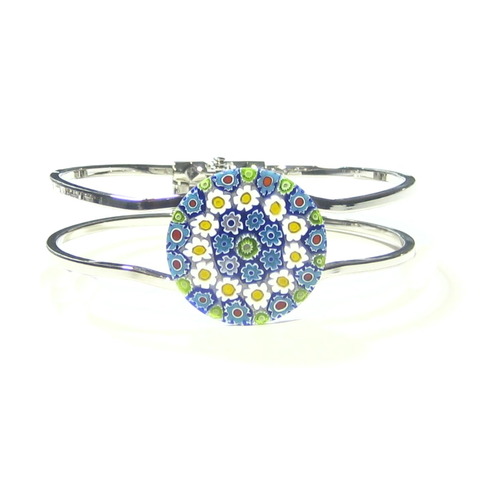 Murano Glass Blue Daisy Millefiori Chrome Bangle Bracelet - JKC Murano
