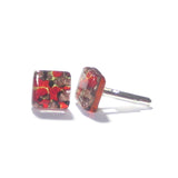 Red Gold Copper Murano Glass Square Cuff Links JKC Murano