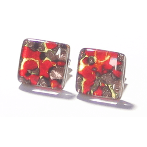 Red Gold Copper Murano Glass Square Cuff Links - JKC Murano