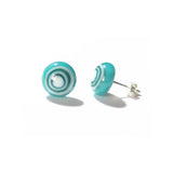 Aqua Bulls Eye Millefiori Sterling Post Earrings - JKC Murano