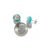 Aqua Green Bulls Eye Millefiori Sterling Post Post Earrings JKC Murano