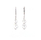 Clear Faceted Ball Swarovski Crystal Sterling Silver Earrings JKC Murano