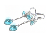 Turquoise Swarovski Heart Sterling Silver Dangle Earrings JKC Murano