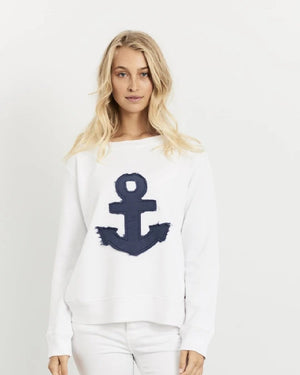 Frayed Anchor Cotton Windy - White