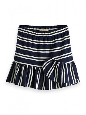 Girls Striped Mini Skirt