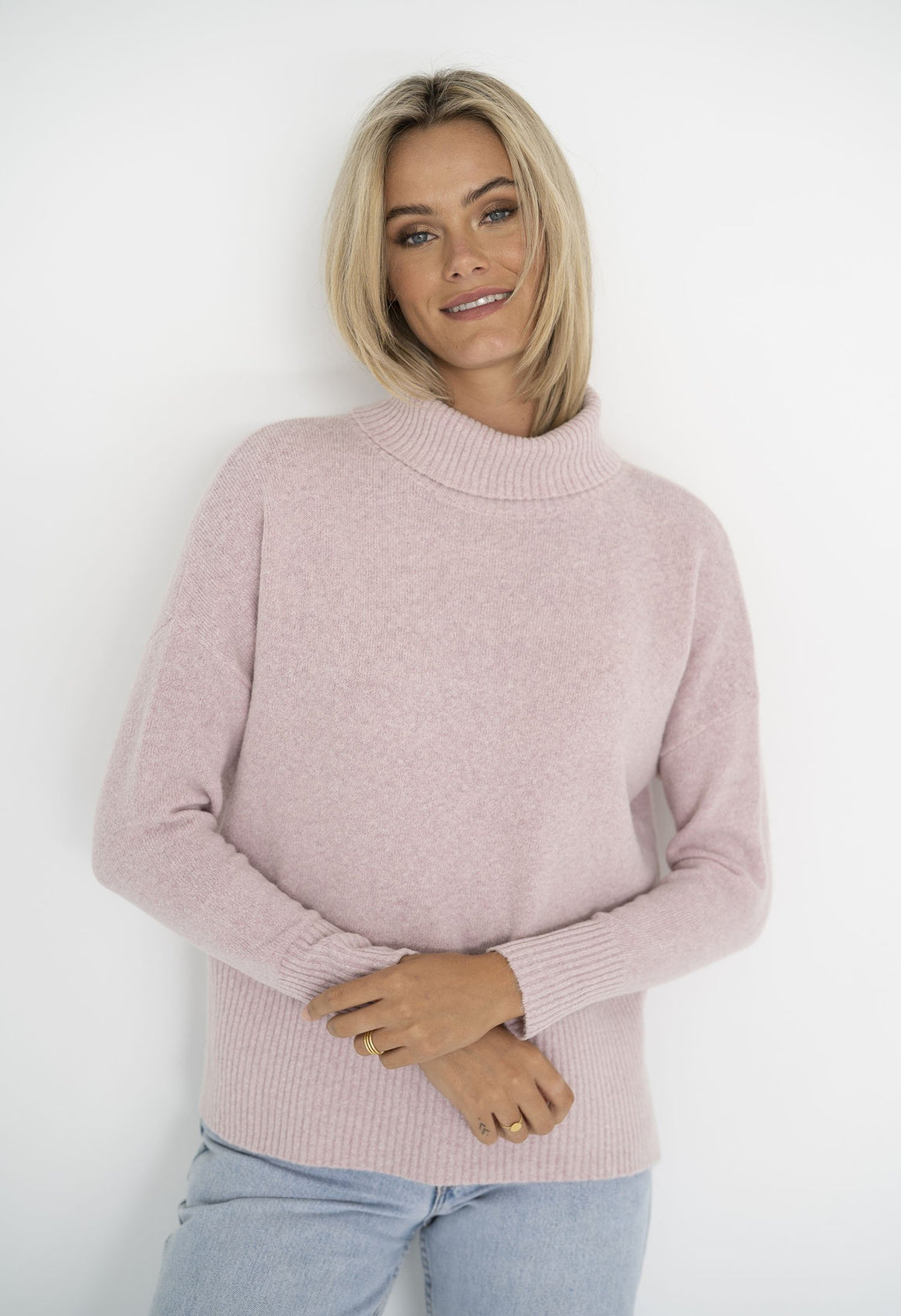 Serenity Roll Neck in Baby Pink