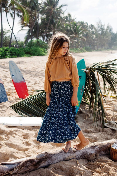 Island State Co Girls Maxi Floral Skirt - Legian Blue