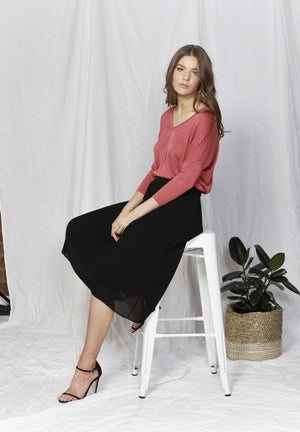 Savannah Linen Blend Jumper in Dusky Pink