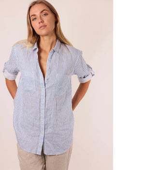 Linen Boyfriend Shirt - Blue & White Printed Stripe