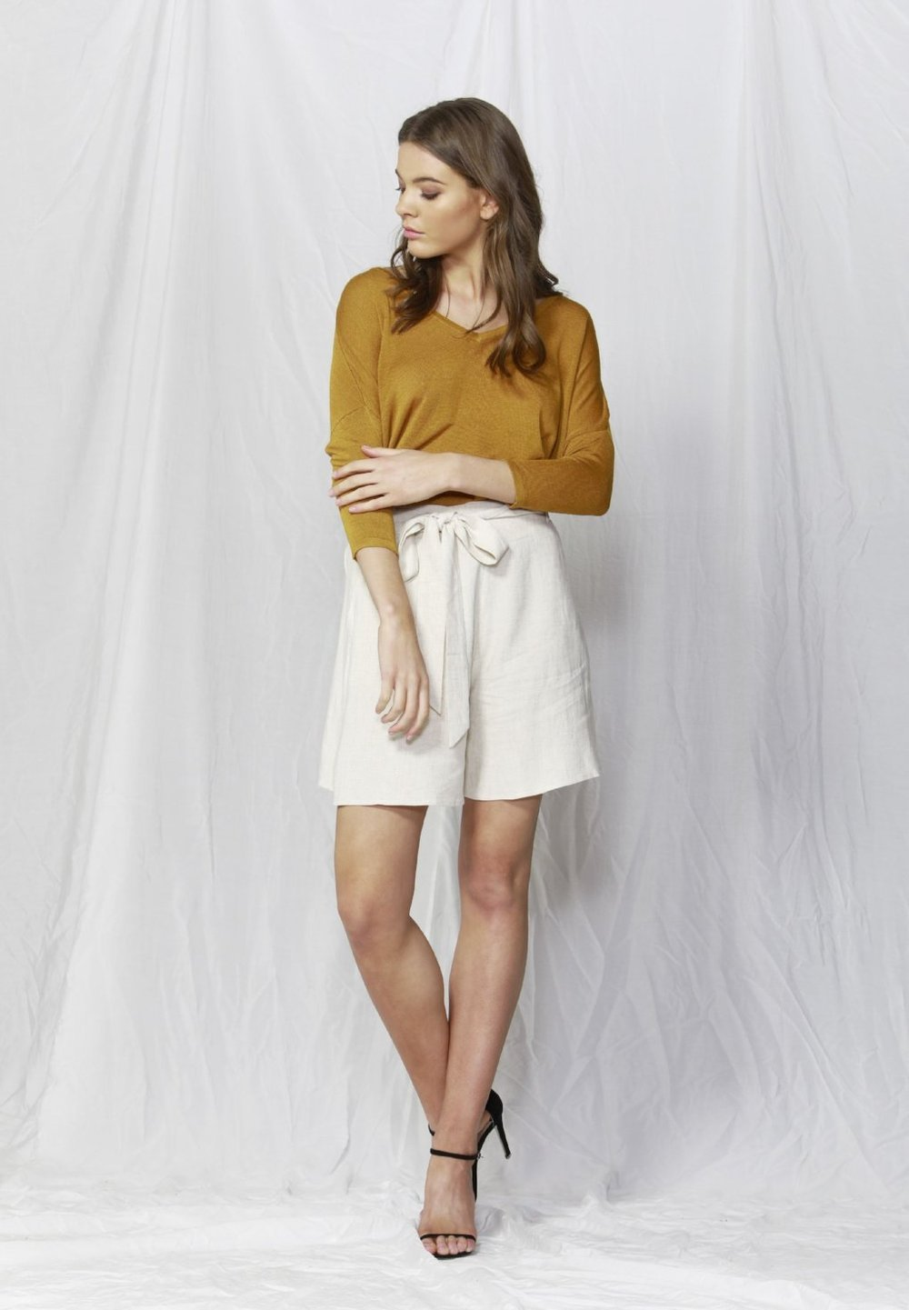 Savannah Linen Blend Jumper in Mimosa Yellow