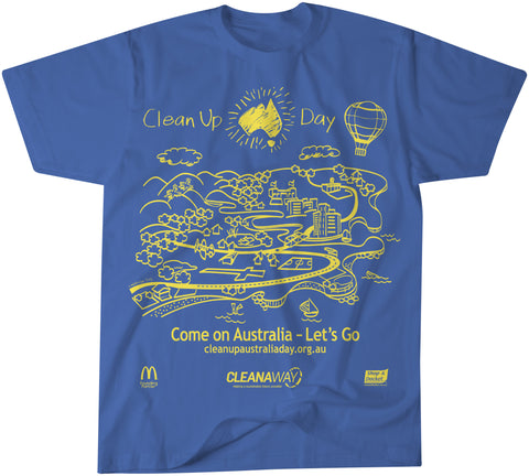 Clean Up Australia Day T-shirt - Blue/Yellow