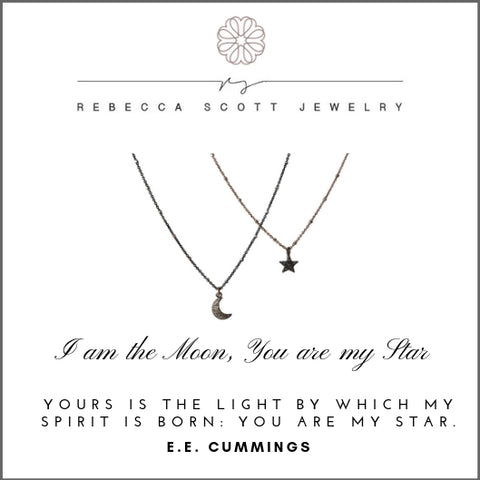 Meaningful Gift | Pave Diamond Moon | Pave Diamond Star | Mother Daughter Necklace | Gift for Daughter | Rebecca Scott Jewelry | Rose Gold | Diamond Jewelry