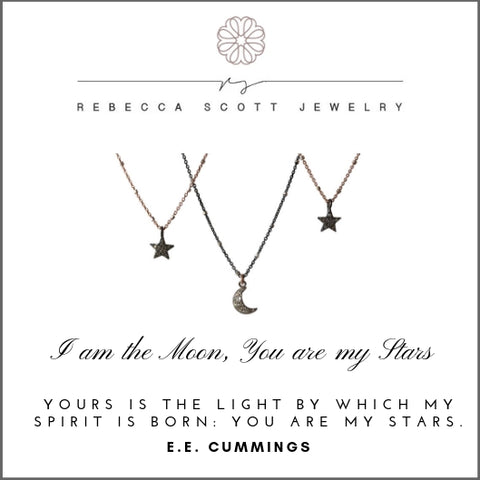 Mother Daughter Gift Set | Pave Diamond Moon Pave Diamond Star Necklace | Rebecca Scott Jewelry | Meaningful Gift
