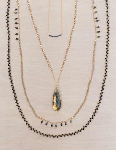 Grace Necklace // Chain Woven Necklace in Labradorite with Spinel Drops