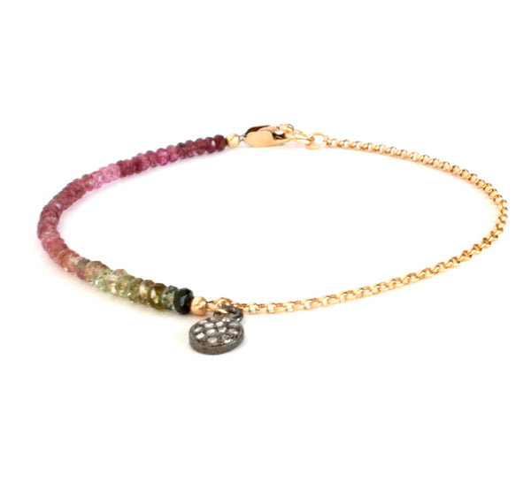 Diamond Disc Charm Harmony Bracelet in Multicolor Tourmaline