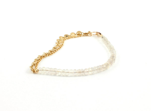 Disc Chain Harmony Bracelet in Sri Lankan Moonstone