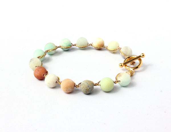 Classic Woven Bracelet in Chunky Unpolished Amazonite