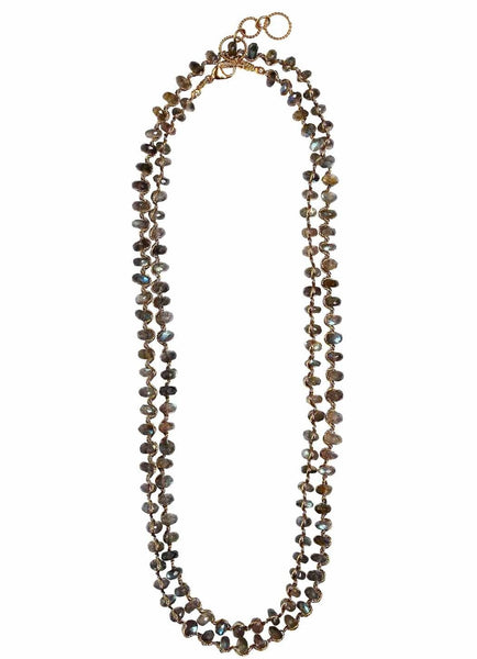 Woven Long Necklace in Chunky Labradorite | Classic Weave