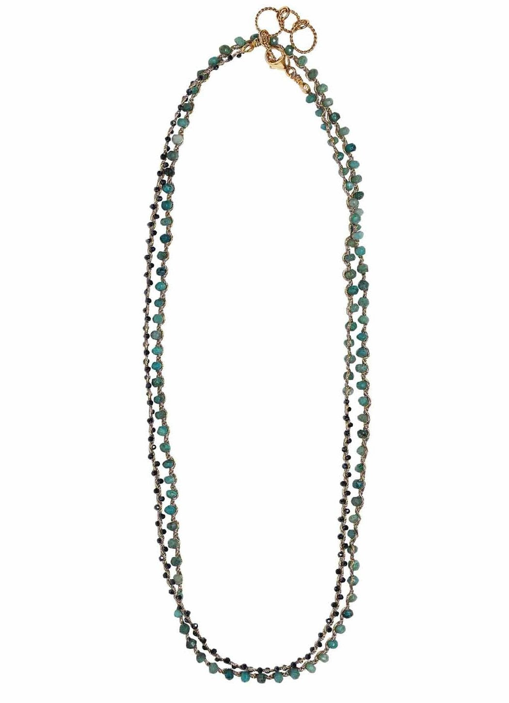 Woven Long Necklace in Chrysocolla & Midnight Spinel | Balance Weave