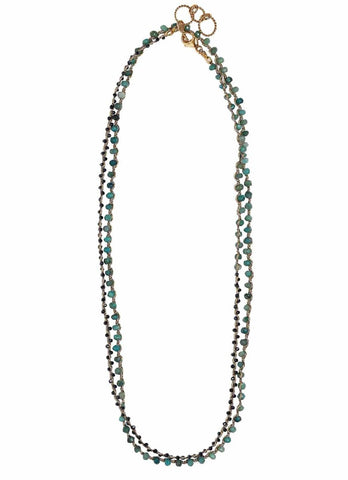 Balance Woven Necklace in Chrysocolla & Midnight Spinel