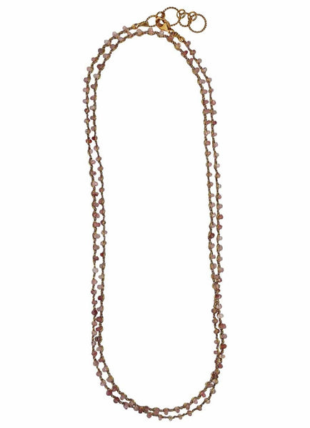 Woven Long Necklace in Strawberry Quartz | Classic Weave