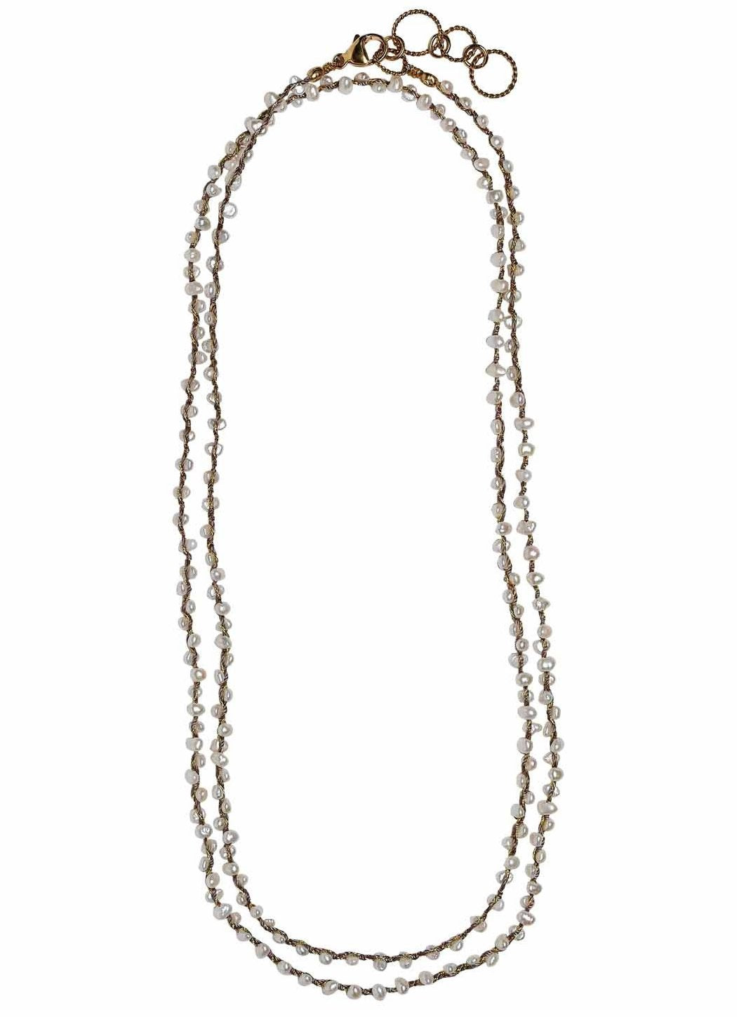 Woven Long Necklace in Pearl | Cluster Weave