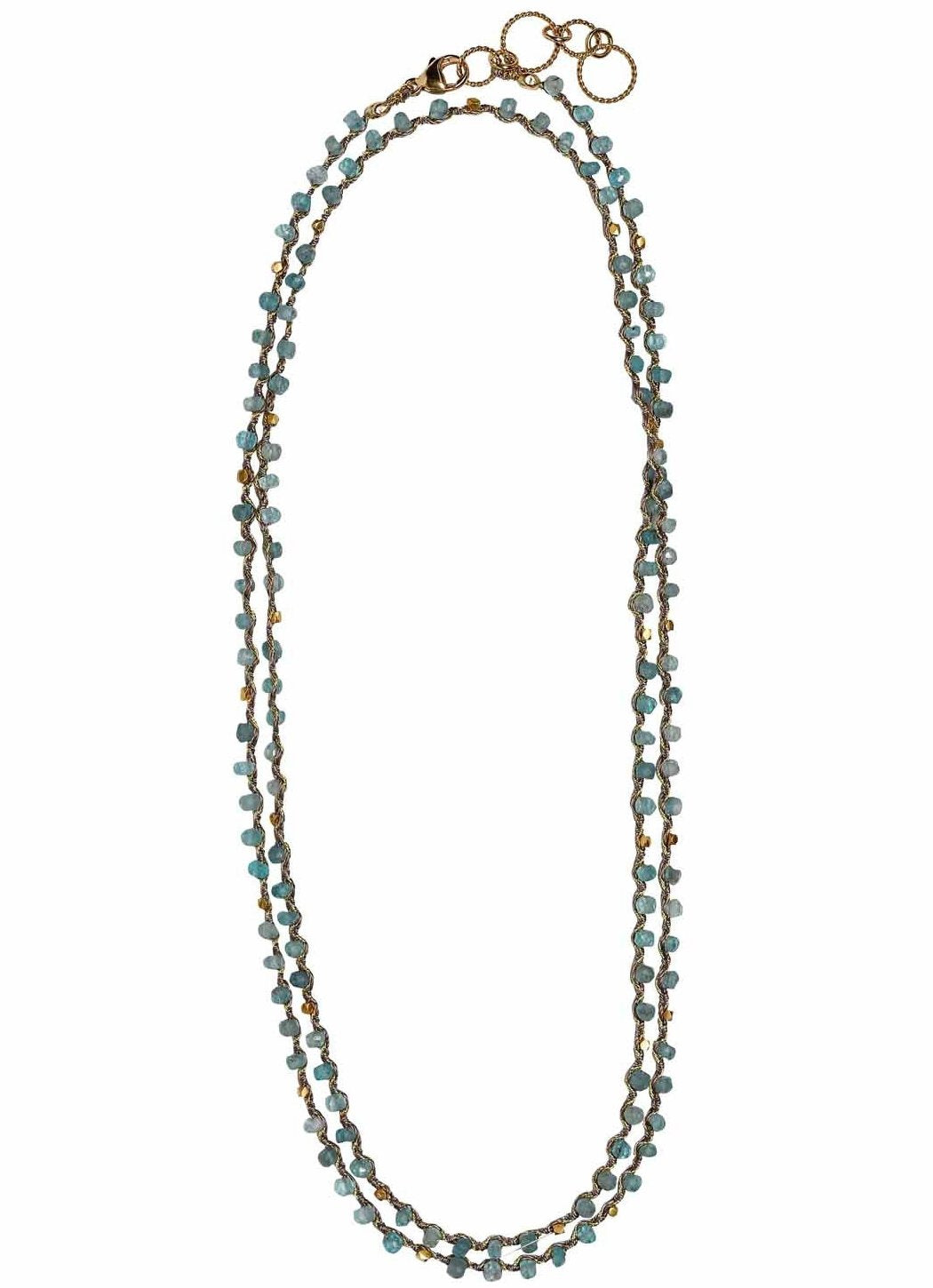 Woven Long Necklace in Apatite | Patterned Weave