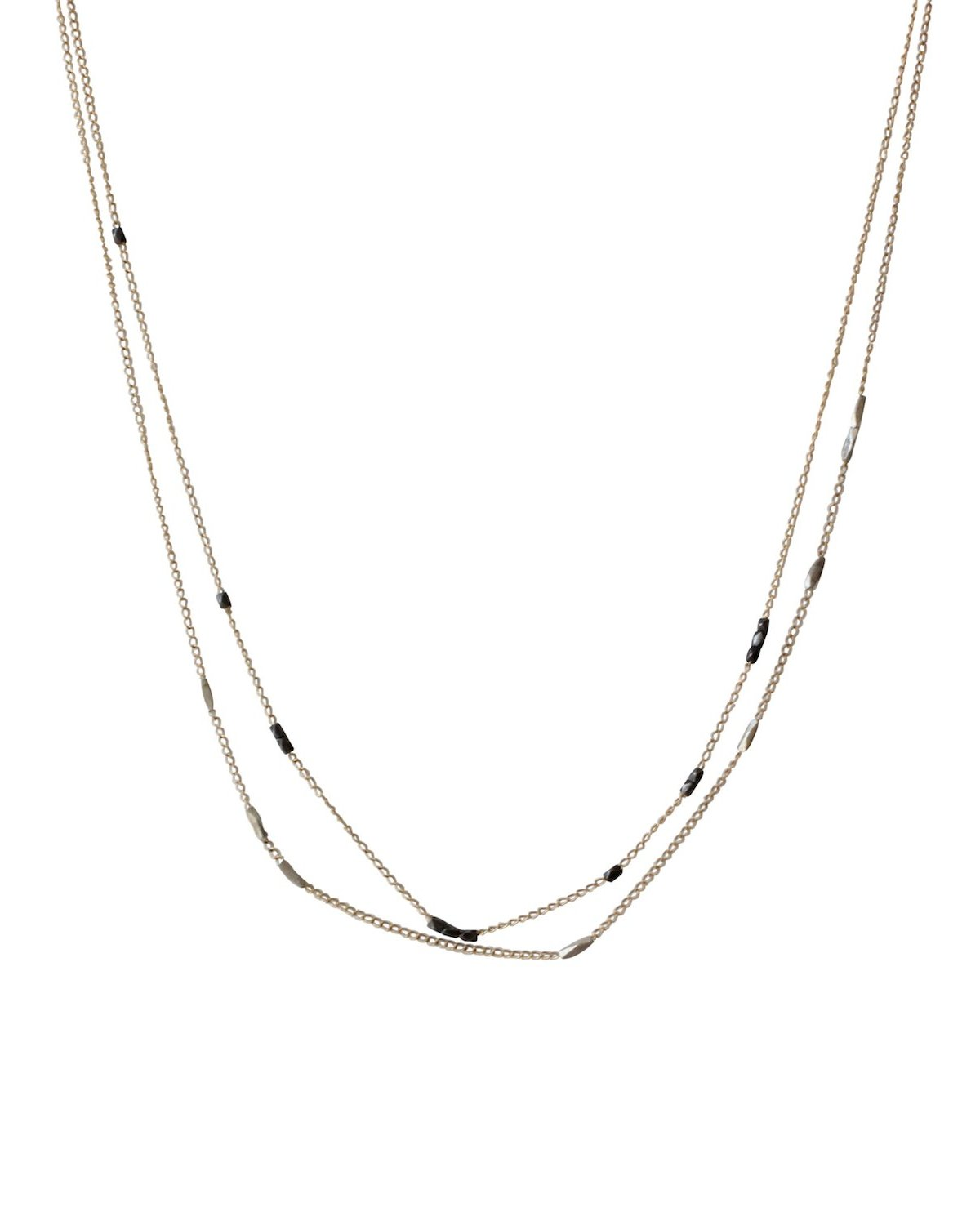 Double Strand Beaded Chain Necklace in Yellow Gold