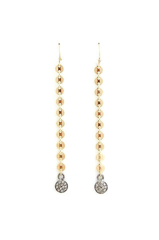 Diamond Disc Drop Linear Earrings