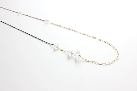 5 Herkimer Diamond Asymmetrical Necklace