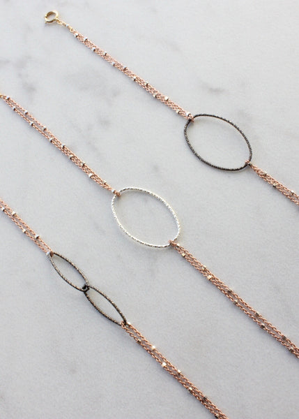 Link Bracelet | Rebecca Scott Jewelry | Handmade Jewelry | Oval Ring Bracelet | Rose Gold | Everyday Jewelry | Simple Bracelet | Oxidized Silver | Rose Gold Jewelry | Minimal Jewelry | shop small